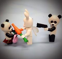 Barry the panda wasn't happy with Bunny guy for sharing carrots with Betty the panda #lego #minifigures #popart #gunculture #carrots #panda #bunny (wigglesworthclarke) Tags: bunny panda lego popart carrots minifigures gunculture