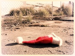 Christmas Is Over II (See El Photo) Tags: california santa christmas ca xmas shadow red brown sun white holiday snow black color colour building green abandoned hat cali digital fence outside outdoors photo losangeles garbage weeds weed alley warm colore pavement over fluffy sunny ground dirty litter dirt cap messy abandonded santaclause ontheground waste done asphalt happyholidays merrychristmas couleur nomore lowshot losangelesca fluffball snowhat samsungdigitalcamera
