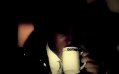 sanka in the dark (screen capture 1/3) (Justin van Damme) Tags: light white man black dark blurry tie screen retro suit mug mysterious capture sanka