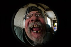 Dad ~ Fisheye (Vegan Butterfly) Tags: people man silly face lens person funny teeth humor humour fisheye