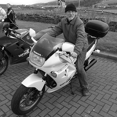 Drew gives the VFR a try for size (Ayr Classic Motorcycle Club) Tags: old classic club vintage scotland scottish cycle moto motorcycle motor ayr veteran timer velo motorrad