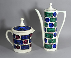 Portmeirion Pottery 'Talisman' teapot and coffee pot (robmcrorie) Tags: coffee ceramic design williams susan ellis pot pottery portmeirion teapot talisman williamsellis