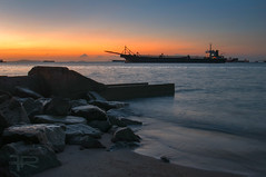 Morning Light... (frahmanz) Tags: morning travel sea seascape beach rock sunrise landscape sand nikon scenery ship malaysia melacca moment nikkor dslr malaysian melaka malaysiaphotographer nikond90 nikonmalaysia frahman frahmanpixel