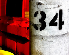 Number 34 (Andrea Kennard) Tags: street abstract detail reflection texture sign metal architecture silver design symbol metallic background text decoration digit objects plate number font type address
