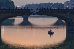 Sunset down the Arno (Thank you for 4M+ views.) Tags: bridge sunset italy reflection water river boat florence pontevecchio