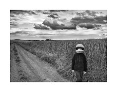 Astronaut (Jan Dobrovsky) Tags: boy bw monochrome contrast landscape countryside grain astronaut document countrylife iphone hipstamatic