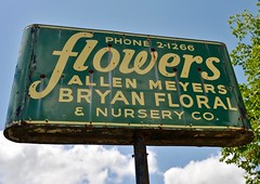 Flowers (Rob Sneed) Tags: flowers urban abandoned broken vintage rust neon texas decay bryan roadside brazoscounty brazosvalley countyseat floralarrangements allenmeyers southcollegest bryanfloralandnurseryco