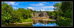 River Irwell (Kevin From Manchester) Tags: trees england sky panorama reflection building water architecture clouds river northwest widescreen panoramic lancashire hdr ramsbottom riverirwell canon1855mm kevinwalker canon1100d