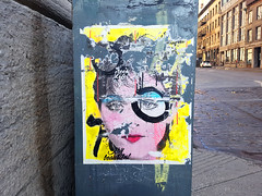 Stay Beautiful - Montreal (Exile on Ontario St) Tags: street woman streetart art beautiful yellow mailbox jaune postes circle print poster graffiti glasses eyes poste artist montreal circles madonna femme ripped sidewalk 80s singer torn entertainer letterbox oldmontreal eighties damaged 1980s lunettes spectacles stay posterart trottoir courrier canadapost vieuxmontral annes80 postescanada staybeautiful