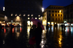 315/365 (moke076) Tags: street vacation portrait people italy blur oneaday rain night umbrella buildings square lights florence nikon couple europe day random bokeh outoffocus cobblestone rainy photoaday firenze 365 piazza della 2014 signoria project365 365project d7000