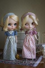 regency story (JennWrenn) Tags: print doll handmade cotton dresses frock blythe magda regency maizie