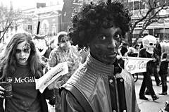 Toronto Zombie Walk 2014 2322 (sniderscion) Tags: street urban bw white toronto ontario canada black halloween monochrome scott walking dead fun michael costume scary blood nikon zombie walk g makeup canadian jackson parade creepy event gore horror undead nightmare nikkor 18200 fiend ghoul snider gruesome thriller 2014 reanimated walkingdead 3556 sniderscion d7000 lifeimpaired nikkor182003556g