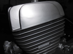 close up on engine paint (Nicola_R) Tags: red 2 two classic bike bristol japanese stroke retro motorbike trail chrome 1967 motorcycle restored restoration suzuki jap twostroke enduro bearcat scrambler b105 trailbike b105p vjmc