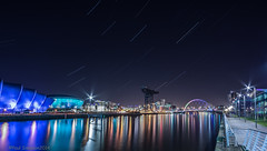 Planes,Trails and Auditoriums. (pauls1502) Tags: longexposure night reflections river clyde nikon crane glasgow quay hydro armadillo startrails clydeside squintybridge