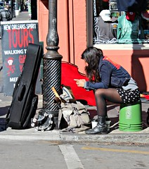 WAITING TO PERFORM (marsha*morningstar) Tags: woman girl female louisiana boots neworleans streetshots performer streetscenes