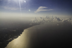 Causeway, Lake Pontchartrain (Keith Kelly) Tags: sky lake water clouds louisiana neworleans scenic aerialview aerial land arrival causeway lakepontchartrain orleansparish