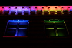 Manufacture (Glaneuse) Tags: street city windows light building colors night rainbow front lighted