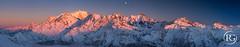 """""""Crépuscule de Saint Sylvestre sur le Toit de l'Europe"""". Haute-Savoie, France. (Raphaël Grinevald • Photographe) Tags: sunset panorama ski montagne alpes lune reflex nikon lumière hiver glacier 28 nikkor savoie sunrays crépuscule 70200 montblanc vr glace alpinisme d800 aiguilledumidi saintgervais hautesavoie croche aiguille rhônealpes contamines joly montjoie alpesfrançaises bionnassay dômesdemiage trélatête vorassay raphaelgrinevald rgphotographe"""