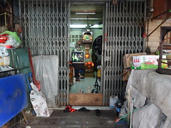 Little dog defending his home - Bangkok Chinatown (ashabot) Tags: thailand seasia chinatown bangkok citylife citystreets streetscenes randomencounters worldcities