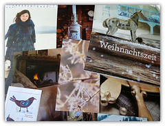 weihnachtszeit | yuletide (Carolyn Saxby) Tags: christmas winter snow bird ice nature collage fur fire frost boots coat warmth huskies stove yule greetings icy rockinghorse yuletide seedheads paperswap