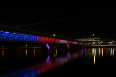 Night Glow (NiePhotography) Tags: bridge blue light red arizona white lake color reflection water colors night photography lights town photo long exposure bright time vibrant nighttime tempe