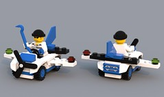 Micro Classics: The Brickster's Booster (Unijob Lindo) Tags: blue 2002 car digital plane island lego designer render extreme micro classics villain mighty xtreme micros stunts crowbar ldd brickster microfighters bluerender microclassics