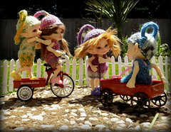 Can I have a turn now??  Pretty please... (TutuBella) Tags: family sunshine wagon fun outside dolls tricycle fairyland tinybjd realpukis realpukiknittedrompersetsbysally~ssmartraggs