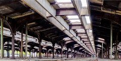 An abandoned old train yard...vintage (ravi_pardesi) Tags: old light ny yard train vintage nj warehouse symmetrical classical serene colossal infinite awesomeness oldisgold