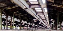 An abandoned old train yard...vintage (ravi_pardesi) Tags: old light ny yard train vintage nj warehouse symmetrical classical serene colossal infinite awesomeness oldisgold