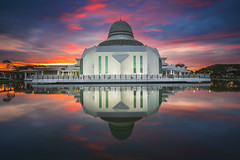Morning Sunrise (Adly Wook) Tags: longexposure trip travel light sky cloud motion composition sunrise canon landscape outdoor mosque malaysia serene sighray