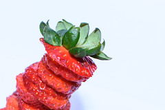 Strawberry Stack (Maggggie) Tags: red green strawberries sliced leaning stacked takeaim