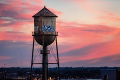 Sleep (Sky Noir) Tags: pink blue sunset sky clouds graffiti virginia watertower richmond va wispy rva