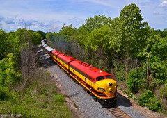 """Northbound KCS Business Train in Cleveland, MO (""""Righteous"""" Grant G.) Tags: city railroad lines car train north railway trains special business southern missouri f kansas locomotive passenger officer unit northbound kcs emd"""