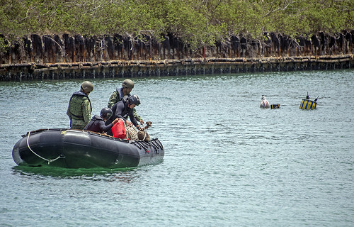 US Sailors Conducting a Mine Training Operation During Exercise Tricrab on Naval Base Guam