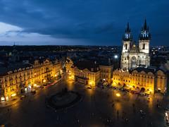 Prague Old Town Square (Ralph Cherubin) Tags: blue church architecture square town europe republic czech prague gothic may olympus hour 2016 ep5 churchofourladybeforetýn 9mm18mm
