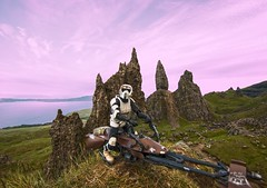 Old Man of Storr(m Trooper) (H.B. Mejia) Tags: ocean sunset sea water toys scotland starwars highlands isleofskye landmark actionfigures stormtrooper iconic forcedperspective oldmanofstorr scottishhighlands famouslandmarks totternishpeninsula starwarsthemedphotography