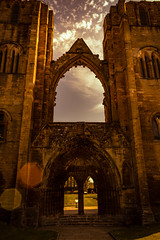 Entrance to God (steelegbr) Tags: uk blue sky building green history grass stone clouds religious scotland cathedral ruin historic elgin highands elgincathedral
