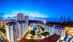 Break of dawn from Telok belangah (neoro_blitz) Tags: blue sunrise canon buildings landscape dawn singapore skies cityscape pano flats blueskies telokbelangah 5dsr