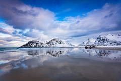 Skagsanden beach (Lukasz Lukomski) Tags: blue sea sky snow mountains ice beach water norway clouds landscape coast norge sand rocks europa europe arctic scandinavia lofoten gry woda archipelago skay niebieskie morze chmury niebo plaa piasek sigma1020 krajobraz norwegia snieg wybrzee skandynawia lofoty  flakstadya nikond7200 lukaszlukomski
