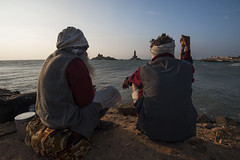 Travellers (Ravikanth K) Tags: 500px travellers hitch hickers hippies men old friends view sea pier kanyakumari vivekananda rock memorial thiruvalluvar statue beach arabiansea morning sunrise watching beautiy tourist people travel kanniyakumari india tamilnadu outdoor