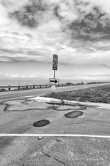 Pacific Coast Highway (autobahn66.com) Tags: ocean california road street urban blackandwhite clouds landscape pacific carlsbad