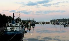 At the daybreak (KaarinaT) Tags: sea reflection finland harbor still helsinki colorful harbour earlymorning serene seafront 4am herttoniemi boatdock boatsinarow shipsinarow moonwithreflection deadcalmwithboatsandmoon inthestillofthemorning