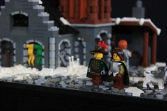 Nordheim Armory (jsnyder002) Tags: roof winter snow tower castle stone architecture fire design town model lego interior helmet scene medieval cobblestone creation armor weapon sword shield blacksmith forge armory racks moc skyrim