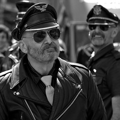 London LGBT Pride Parade, 25 June 2015 (chrisjohnbeckett) Tags: portrait square bw blackandwhite monochrome london lgbt pride parade 2016 sunglasses shades leather timeout londonist street urban people global photojournalism documentary cap lunettesnoires