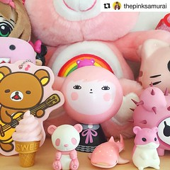 #Repost All pink everything! Glad the #Jibibuts girl I collab with @noferin_art found so many new friends!!  (Andrea Kang) Tags: pink cute panda kawaii hamster carebear arttoy rilakkuma tokidoki designertoy noferin andreakang jibibuts instagram ifttt