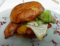 egg sando at Cafe Reveille in Mission Bay (Fuzzy Traveler) Tags: sanfrancisco food cheese breakfast restaurant bacon cafe egg sandwich american missionbay gruyere cafereveille