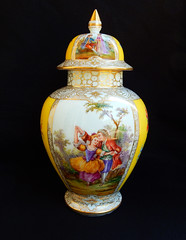 Dresden Germany Richard Klemm Covered Urn Quatrefoil Watteau Courting Couples (Donna's Collectables) Tags: urn germany dresden couples covered richard courting watteau quatrefoil klemm