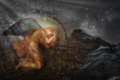 Hope (laxwings) Tags: angel hope rock water light beams halo