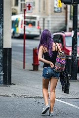 C58R2848 (Nick Kozub) Tags: 4th annual 500px red bull gobal photo walk montreal 2016 canon eos 1dx ef 180 f35 l macro daylight outdoor interesting event woman purple hair crossing