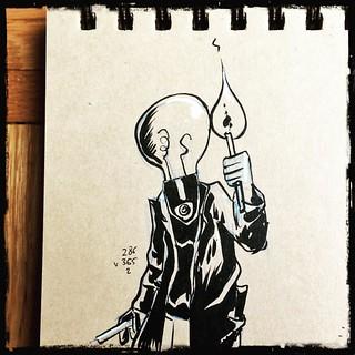 L'homme à tête d'ampoule qui venait de griller, dû allumer une torche pour retrouver son chemin. Il trouva la situation ironique et très cocasse #montreal #mtl #quebec #canada #ink #inktober #illustrations #sketch #draw #drawing #doodle #dailysketch #dail